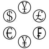 Значки набора валют Стоковые Изображения