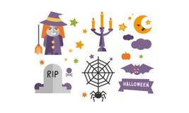 Значки набор, ведьма, подсвечник с горящими свечами, паутина и паук хеллоуина, могильный камень, иллюстрация вектора летучей мыши иллюстрация штока