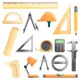 Значки набор оборудования архитектора, стиль мультфильма иллюстрация вектора