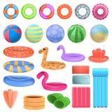 Значки набор оборудования бассейна, стиль мультфильма бесплатная иллюстрация