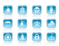Значки наблюдения и безопасности Стоковое Изображение