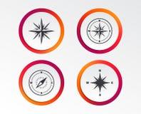 Значки навигации Windrose Символы компаса Стоковое Изображение