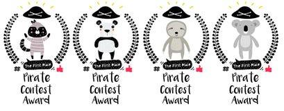 Значки награды пирата милые иллюстрация вектора
