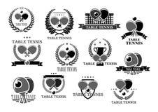 Значки награды турнира значков вектора настольного тенниса бесплатная иллюстрация
