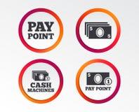 Значки наличных денег и монетки Машины денег или ATM Стоковые Фото