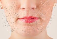Значки нарисованные рукой и символы милого рта женщины дуя стоковое изображение rf