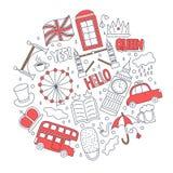 Значки нарисованные рукой с символами Великобритании - повезите чашку чаю на автобусе зонтика флага шляпы облака кроны, красную б иллюстрация штока