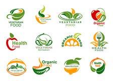 Значки натуральных продуктов вегетарианца и vegan иллюстрация вектора