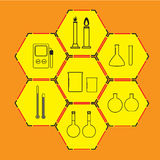 Значки науки установленные на предпосылку стоковое изображение rf