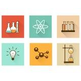 Значки научной лаборатории плоские Стоковая Фотография