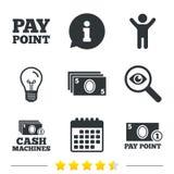 Значки наличных денег и монетки Машины денег или ATM Стоковое фото RF