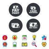 Значки наличных денег и монетки Машины денег или ATM Стоковое Изображение