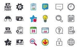 Значки наличных денег и монетки Машины денег или ATM Стоковое Изображение RF