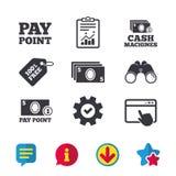 Значки наличных денег и монетки Машины денег или ATM Стоковое Фото