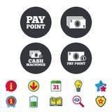 Значки наличных денег и монетки Машины денег или ATM Стоковые Изображения RF