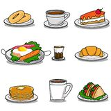 Значки на кафе и завтраки иллюстрация вектора