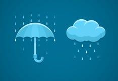Значки ненастной погоды плоские с облаком идут дождь падения и зонтик бесплатная иллюстрация