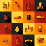 Значки нефтедобывающей промышленности плоские Стоковое фото RF