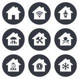 Значки недвижимости Знак страхования жилья иллюстрация штока