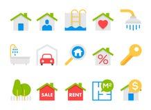Значки недвижимости плоские бесплатная иллюстрация
