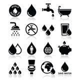 Значки дня воды мира - экологичность, зеленая концепция иллюстрация вектора