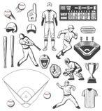 Значки оборудования спорта бейсбола и обмундирования игроков бесплатная иллюстрация