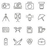 Значки оборудования фотографии утончают линию комплект иллюстрации вектора Стоковое Фото
