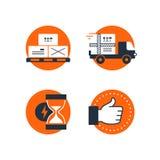 Значки обслуживаний снабжения поставки установили, коробки движения, нагружая тележка, время иллюстрация вектора
