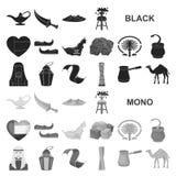 Значки Объединенных эмиратов страны черные в собрании комплекта для дизайна Сеть запаса символа вектора туризма и привлекательнос иллюстрация штока