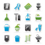 Значки объектов ванной комнаты и гигиены Стоковое фото RF