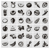 Значки овощей и плодоовощей Бесплатная Иллюстрация