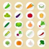 Значки овощей плоские Стоковые Фото