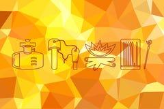 Значки огня установленные на предпосылку огня пламени Абстрактная геометрическая предпосылка с триангулярными полигонами Стоковые Фотографии RF