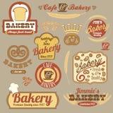 Значки логоса хлебопекарни год сбора винограда ретро Стоковое Изображение