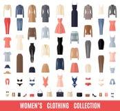 Значки одежд женщин установленные в плоский стиль Стоковое Изображение RF