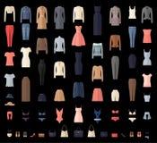 Значки одежд женщин установленные в плоский стиль Стоковые Фото