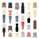 Значки одежд женщин установленные в плоский стиль Стоковое фото RF