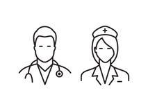 Значки доктора и медсестры Стоковые Изображения RF