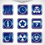 Значки опасности - комплекта 1. Стоковые Изображения
