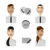 Значки операторов центра телефонного обслуживания, женщины и воплощения мужчины Стоковые Фото