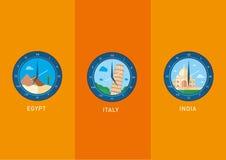 Значки, ориентир ориентиры города показанные в вахте набирают Стоковое Изображение RF
