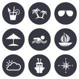 Значки отключения, корабля и яхты круиза Знаки перемещения Стоковые Фотографии RF