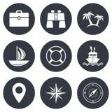 Значки отключения, корабля и яхты круиза Знаки перемещения Стоковое Фото