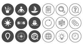 Значки отключения, корабля и яхты круиза Знаки перемещения Стоковое Изображение RF