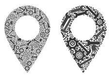 Значки отметки карты мозаики инструментов ремонта иллюстрация штока