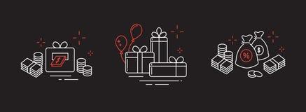 Значки от тонких линий, подарков, много денег, онлайн выигрыша Стоковые Изображения