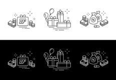 Значки от тонких линий, подарков, много денег, онлайн выигрыша иллюстрация вектора