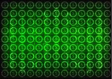 Значки доллара на зеленой предпосылке Высокотехнологичный Стоковое фото RF