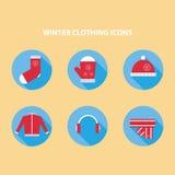 Значки одежды зимы Стоковая Фотография RF