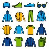 Значки одежды людей Стоковое фото RF